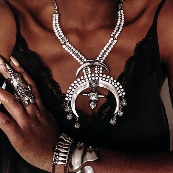 Karis' Kloset Jewelry - NEW Moon Queen Silver Statement Necklace